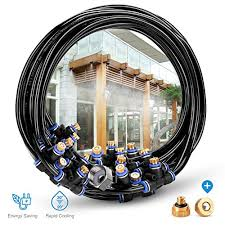 homenote outdoor misting cooling system 59ft 18m misting line 26 brass mist nozzles a brass adapter 3 4 for patio garden greenhouse trampoline for