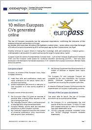 cv onlain briefing note 10 million europass cvs generated online cedefop