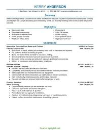 Great Concrete Laborer Resume Finisher Sample Resumes Editor Cover