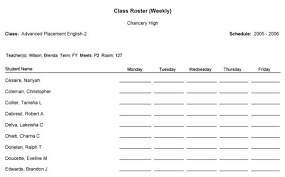 class roaster class roster weekly