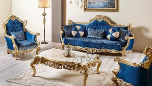 kingcrown royal blue sofa set with