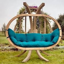unique outdoor furniture. amazing wooden swing in a unique garden outdoor furniture