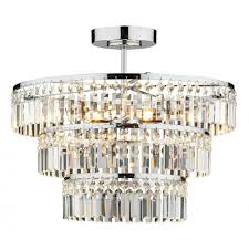 rowena small chrome and crystal chandelier for low ceilings