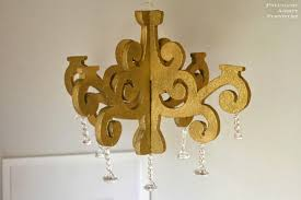 a diy gold glitter and crystal chandelier tutorial using inexpensive craft foam no wiring required