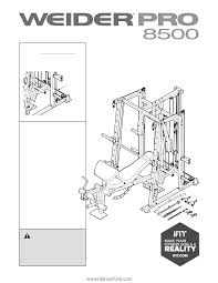 Weider Pro 8500 Exercise Chart Weider Pro 8500 Smith Cage Bench English Manual