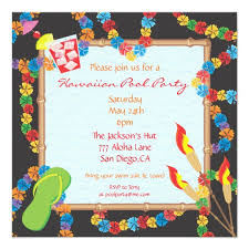 Hawaiian Pool Party Invitations Luau Hawaiian Pool Party Invitation Card Zazzle Com