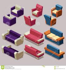 isometric office furniture vector collection. living room isometric furniture vector set sofa and armchairs stock image office collection