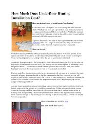 Heated Bathroom Floor Cost Cool How Much Does Underfloor Heating Installation Cost