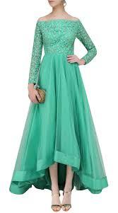 Off Shoulder Designer Suits Sea Green Net Off Shoulder Asymmetrical Kameez Suuds43220