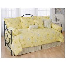 beautiful soft yellow daybed comforter set ideas combine with black iron frame and plaid accent