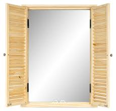 Wandspiegel Spiegel Holz 47x64cm Fensterspiegel Fensterladen