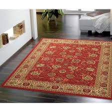 ottohome collection traditional fl design dark red 5 ft x 7 ft area rug