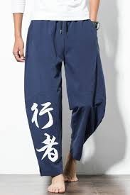 Character Pants Summer New Trendy Chinese Style Drawstring Waist Chinese Character