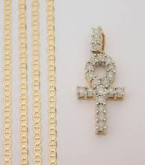details about 10k yellow gold round cut diamond egyptian ankh pendant gucci chain 18 inch