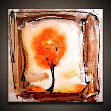 autumn tree modern season abstract painting by dranitsin