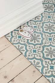 moroccan inspired blue white and gray decorative ceramic floor tiles nonagon style