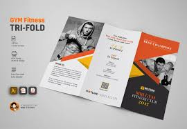 Gym Brochure GYM Tri Fold Brochure Brochure Templates Creative Market 3