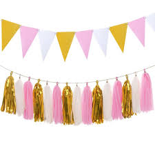 paper pennant banner flags and paper tassels garland for birthday party bridal shower wall decoration glitter gold pink with 19 57 piece on