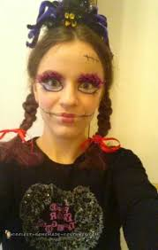 creepy doll costume and makeup for a ager