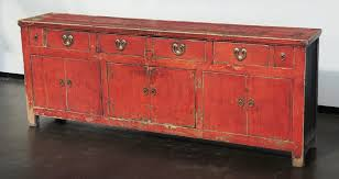 antique red sideboard buffet