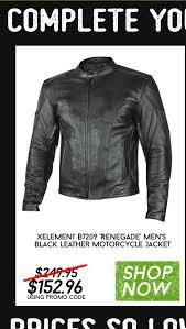 xelement b7209 renegade men s black leather motorcycle jacket