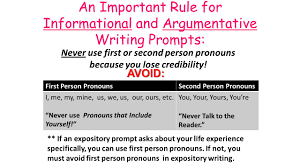 types of writing in th grade english informational essay  an important rule for informational and argumentative writing prompts never use first or second person
