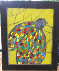 coneflower stained glass mosaic wall