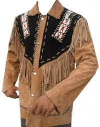 men western leather jacket wear fringes beads native american cowboy coat 1980 s wmj434 curvento