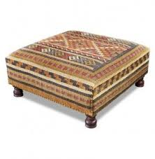 Rae Plains Southwestern Rustic Kilim Square Coffee Table Ottoman
