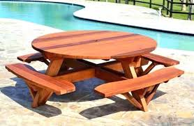 wooden outside table round wooden outdoor table round wooden picnic tables attached benches by forever redwood wooden outside table