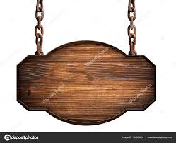 wooden sign in dark wood hanging on a chain isolated stock photo