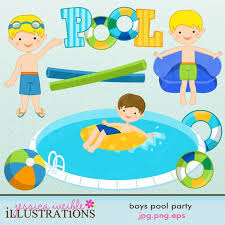 Pool Word Boys Pool Party Graphic Set Comes With 11 Cute Pool Party Cliparts