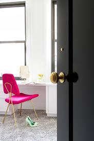 white desk with hot pink velvet chair