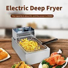 6l electric countertop deep fryer commercial basket french fry commercial 2500w