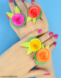 Make Flower With Paper Diy Flower Paper Rings Handy Craft Template Included Easy Peasy