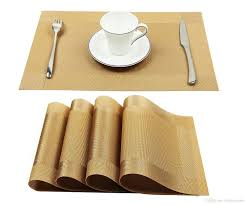 2018 vinyl golden placemats heat resistant dining table woven vinyl non slip insulation placemat washable table mats from homcomoda 10 0 dhgate com