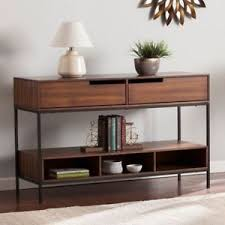 console sofa table with storage. Wonderful Sofa Image Is Loading MidCenturyModernSofaConsoleTableStorageDrawers On Console Sofa Table With Storage