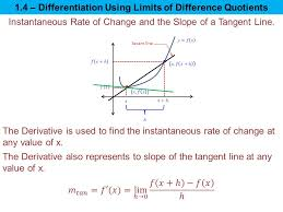 1 4 diffeiation using limits of difference ients