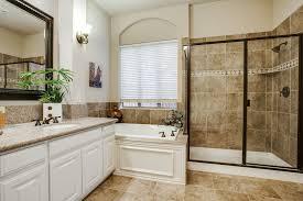 traditional master bathroom. Traditional Master Bathroom With Drop-In Bathtub, Simple Granite Counters, Raised Panel,