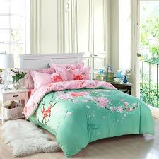full image for 100 brushed cotton oriental bedding set queen king size exotic pink fl bed
