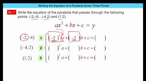 writing equation of parabola given three points