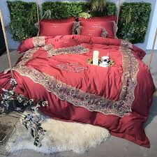 luxurious red and gold vintage lace design classic villa home full queen size bedding sets