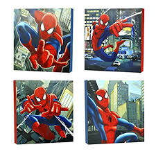 marvel spider man canvas wall art 4 piece  on marvel spiderman canvas wall art 4 piece with amazon marvel spider man canvas wall art 4 piece toys games