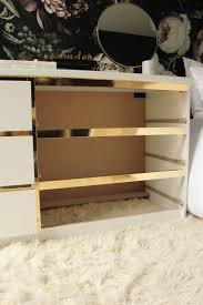 stunning chic ikea office. Preciously Me Blog : DIY - Ikea Hack, Customize And Glamorize A Malm Dresser With Gold Contact Paper. Looks Like Beautiful Vintage Style Credenza More Stunning Chic Office