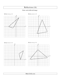 geometry worksheet reflection of 3 vertices over the x or y axis a geometry worksheetsmath worksheetsdrillssearchingover the