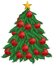 Christmas Tree with Red Christmas Ornaments PNG Clipart