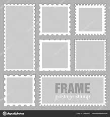 Stamps Template Blank Rectangle Square Postage Stamps Shadow Isolated Grey
