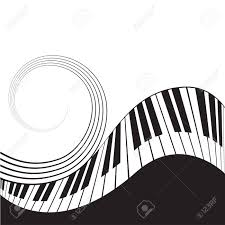 Stave Music Stylized Piano Keys And Stave Music Background Template Poster