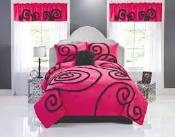 ruffeletta hot pink and black swirl bedding for teenage girls