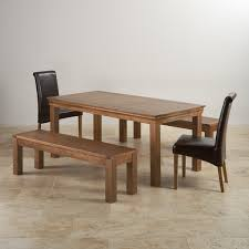 french farmhouse rustic solid oak dining set 6ft table with two 4ft 11in benches and two brown leather scroll back chairs